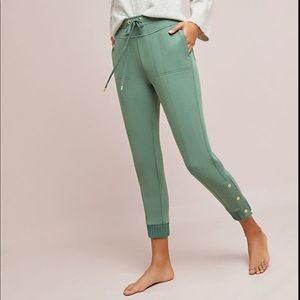 Anthro, Sage Green Terry Cropped Jogger Pants